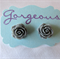 Grey Rose Earring Studs
