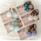 Gorgeous blue themed fabric button hair ties