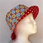 Blue Buttons and Red Spots Reversible Bucket Hat - girls sizes 1-2 yrs, 6-8 yrs