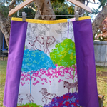 A line 4 panel skirt with bias binding around waist.