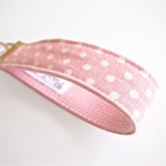 Wristlet Key Fob Chain - Pink and White Polka Dots