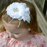 Special Occasion Headband - White - size 6 months to 3 yrs