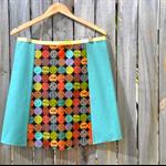 Circles & jade A line panel skirt