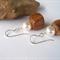 White Swarovski Pearl, Wood, Sterling Silver, dangle earring