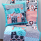Baby Patchwork Cot Quilt w/Ahoy Matey Nautical Print in Aqua, Navy Blue, Red