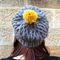Charcoal Celtic Knit Beanie with Pom-Pom