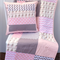 Baby Pink & Grey Monkey Patchwork Cot Quilt w/ Cushion Cover Available