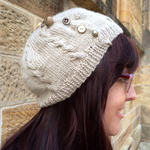 Button Up Cabled Beret - Neutral