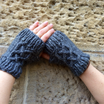 Charcoal Celtic Cable Fingerless Mittens