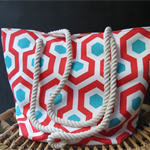 Capri Red & Aqua Beach / Market Bag - Free Postage