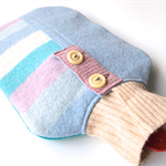 Upcycled Jumper Hot Water Bottle Cover Warmer- Pastel Stripes
