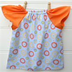 Girls peasant dress with orange, yellow and green flowers