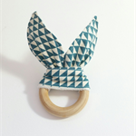 Wooden teething ring bunny ear geometric blue triangle