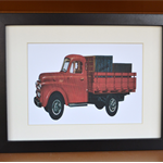 Red Vintage Dodge Truck Framed Print