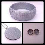 Silver Washi Tape Set - wooden bangle, pendant & chain, stud earrings