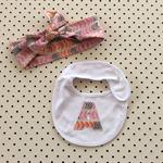 Modern arrow headband  & bib set letter bow knot orange pink beige baby toddler