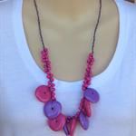 Pink Purple Crochet Wire Beaded Handmade OOAK Necklace by Top Shelf