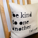 Linen cushion cover, hand printed, be kind to one another