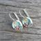 Glass dome hoop earrings - Bird on branch
