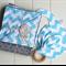 Chevron baby boy gift set. Blanket, bib & teether. Great baby shower gift!