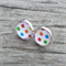 Glass dome stud earrings - colourful dots design.