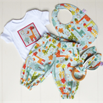 Giraffe baby gift set. Outfit, bib & teether. Made to order in sizes 0000 - 1.
