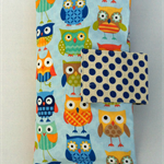 Nappy Diaper Clutch Bag Blue Owls and Blue Spots