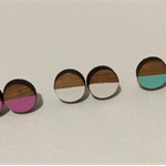 Dipped - hand painted wooden earrings