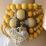 memory wire bracelet  wrap around your wrist  yellow silvertone bracelets