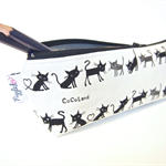Zippered Pencil Case / Pouch - Little Black Cats