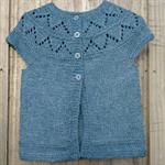 Bamboo/wool short sleeved cardigan with lace yoke