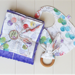 Springtime baby girl gift set. Blanket, bib & teether. Great baby shower gift!