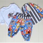 Circus baby boy gift set - outfit & bibs. Made to order in sizes 0000 - 1.