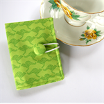 Tea Bag Wallet - Lime Green Kangaroos with bush sticks & polka dots