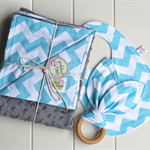 Chevron baby boy gift set. Blanket, bib & teether. Great baby shower gift!