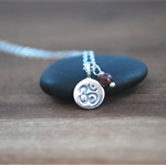 Solid silver Om + Garnet Sterling silver necklace delicate Layering necklace
