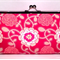 Delicate duet in pink large clutch purse