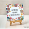 Floral Frame Half Fold Personalized Greeting Card (14818)