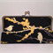 Sparrows in black large clutch purse