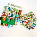 FREE POST * BABY BOY Taggie Blankie & Bandana Dribble Teething Sensory Bib Set