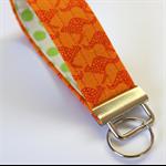 Wrist Key Fob - Pumpkin Orange Kangaroos with green polka dots.