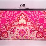 Kaleidoscope in magenta large clutch purse