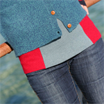 Recycled Wool  Midriff Warmer Haramaki Red & Soft Green- SMALL