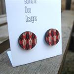 Flower Patterned Circle Wood Earrings. Floral Earrings. Wheat Earrings