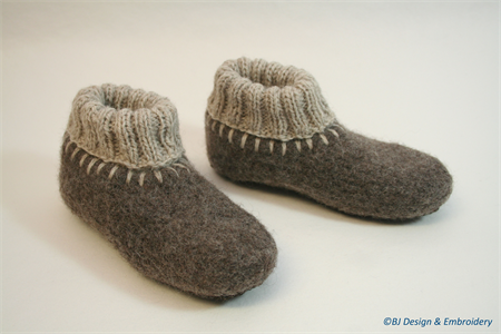Washable woollen Felt Slippers with leather soles, EU 19 - 21