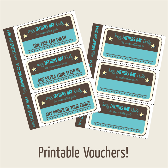 graphic regarding Printable Vouches called Fathers Working day Printable Vouchers - typical design and style. Dee Dub