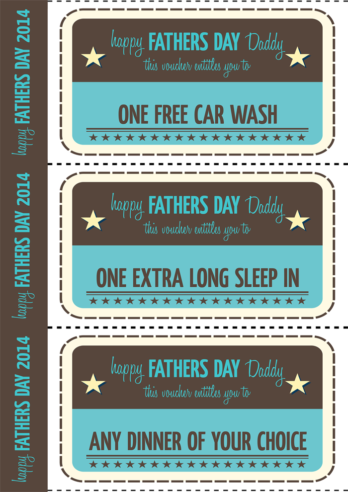 Fathers Day Printable Vouchers   Vintage Style.  Printable Vouchers
