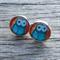 Glass dome stud earrings - Owls
