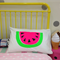 Hand screen printed Neon pink Watermelon Pillow case Standard size 100% cotton