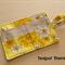 Yellow Retro Print Tea Wallet - Holds 4 Teas - Retro Pattern with Grey Pocket